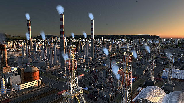 A vast expanse of oil fields with red and white conning towers emitting steam, reaches toward the city downtown