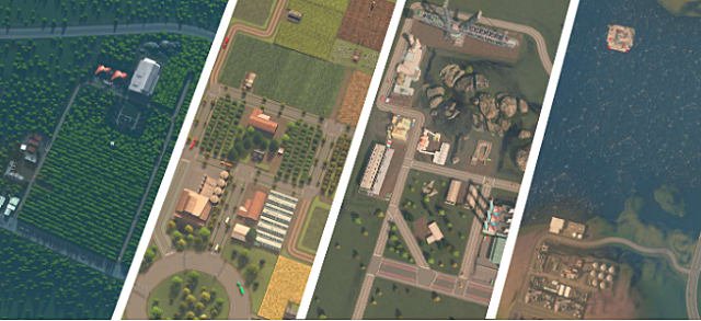 A satellite view of districts in City Skylines shows farming, forestry, regular industrial buildings