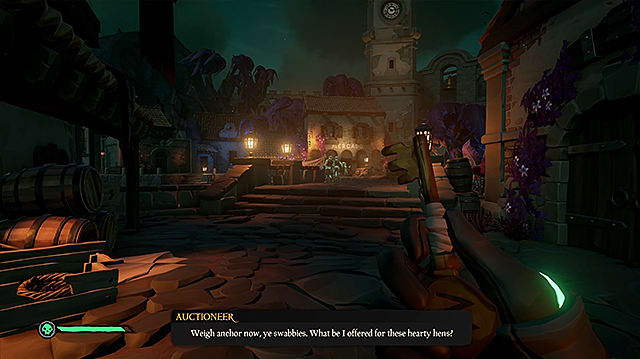 The player character holding the Mercado key and looking toward a town square with shops.