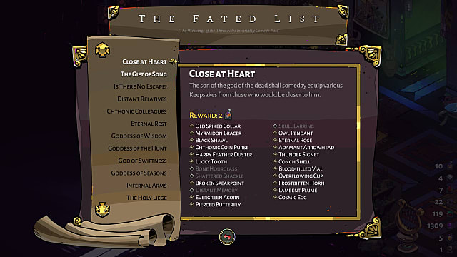 Fated List objectives presented as a scroll.