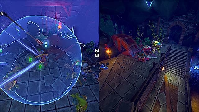 Comparison shot between the original DD and Dugeon Defenders Awakened in Early Access.