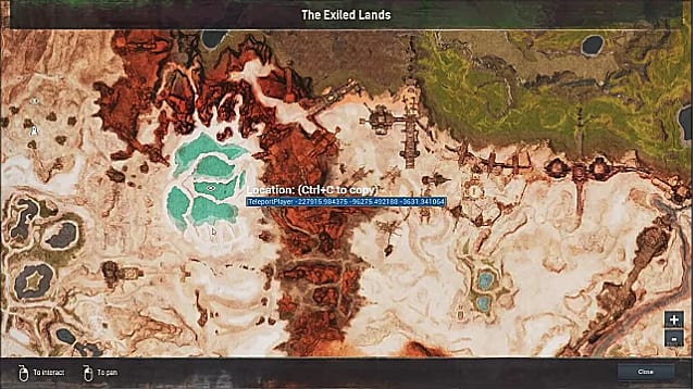 Conan Exiles map showing shattered springs location