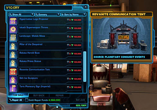lots of items available from a vendor in SWTOR