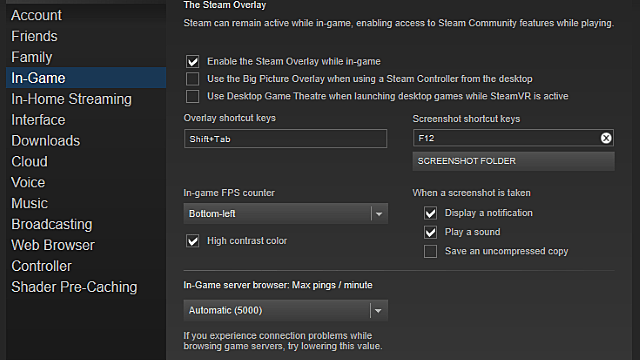 Be sure Big Picture Mode and the in-game Steam Overlay boxes are checked in the Steam menu