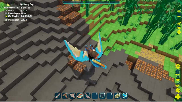 a blue, blocky dinosaur flying above exposed copper in PixARK