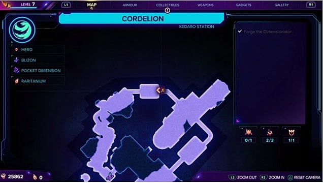A map showing the third gold bolt location on Cordelion.