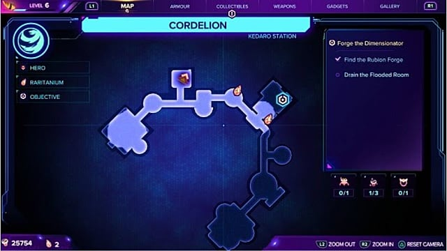 A map showing the second gold bolt location on Cordelion.