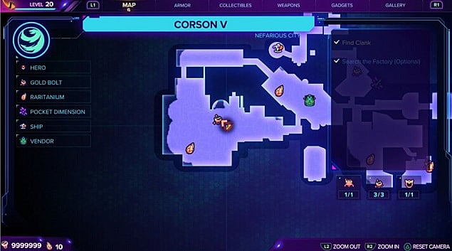 A map for the first gold bolt location on Corson V.