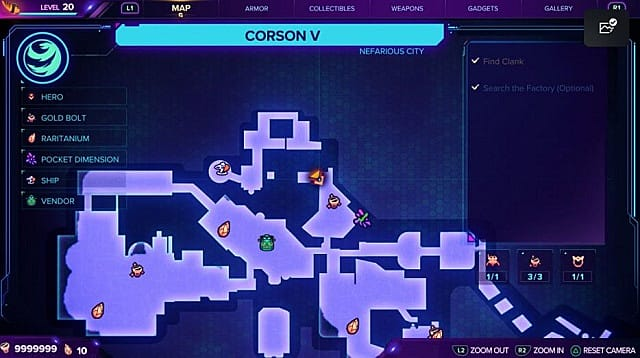 A map for the third gold bolt location on Corson V.