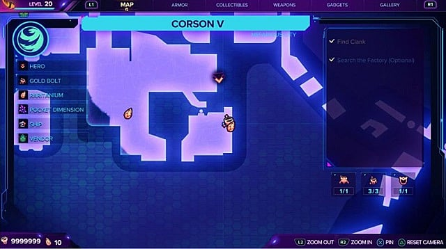 A map for the second gold bolt location on Corson V.