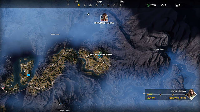 Far Cry 5 map showing where to find Peaches in the Henbane River area