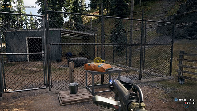 A bag of cougar treats atop a table in Far Cry 5