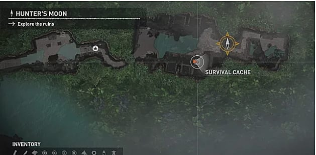 Map showing survival cache one in Cozumel