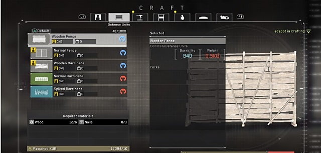 Metal Gear Survive has a robust crafting system