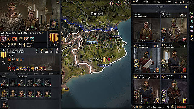 Crusader Kings 3 map focusing on Barcelona, Spain, with the council menu up.