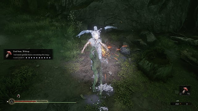Harros, the Vassal using the crystalline parry & harden skill on an enemy, turning them to white crystal, in Fallgrim swamp.
