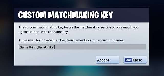 The grey and white box to enter your Fortnite matchmaking key