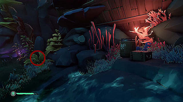 A journal hidden in grass and coral to the left of a wooden barrel and chest.