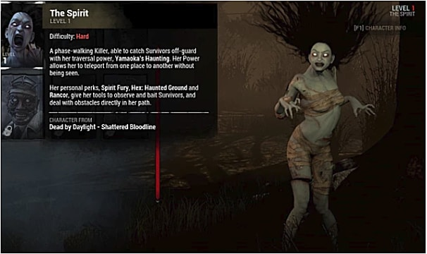 The pale Spirit stands with white eyes next to her character description