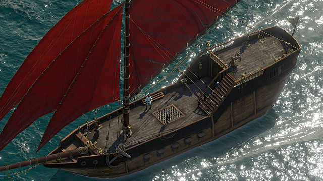 a top-down view of a ship at sea in PoE 2 Deadfire