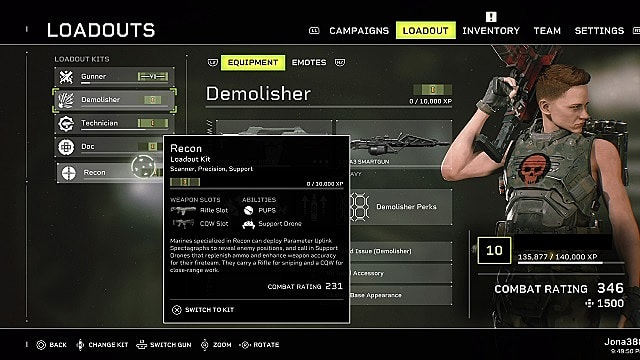 Aliens: Fireteam Elite loadout menu with Demolisher selected and Recon highlighted.