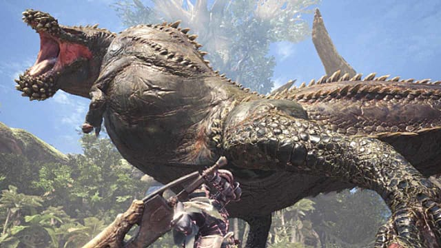 A player with an axe fights Deviljho, who dwarfs the player