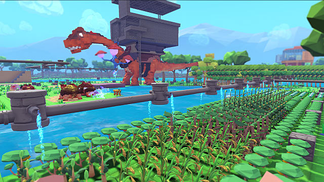 A large brachiosaurus with a large saddle on its back walks through farmland in Pixark