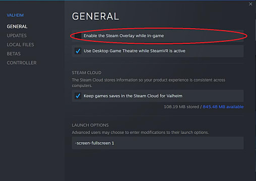The checkbox for disabling the Steam Overlay in Valheim's properties tab.