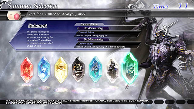The summoning selection screen of each of the seven possible.