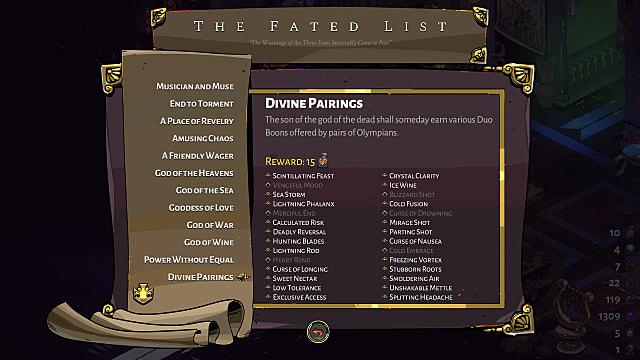 Divine Pairings list.