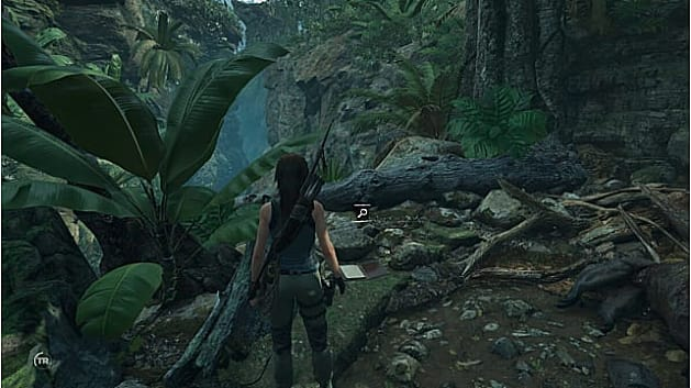 Lara finds the first document on a stone in the Peruvian Jungle