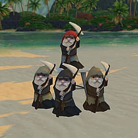 Four gnomes dressed as reapers with scythes.