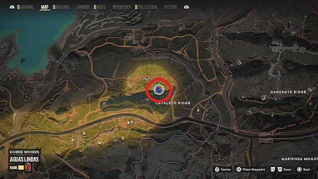 Map of El Dorado's location in the Catalejo Ridge bunker.