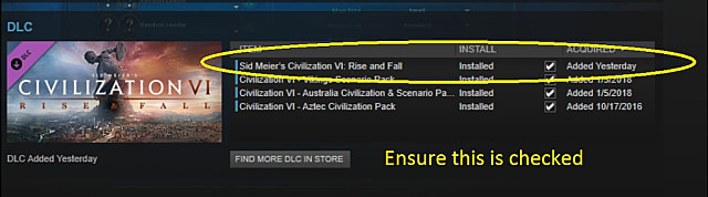 Make sure this checkbox is marked in the civilization vi rise and fall entry in your Steam library