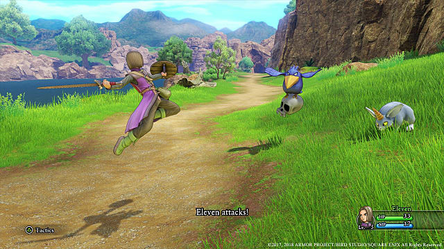 A hero attacking monsters in Dragon Quest XI