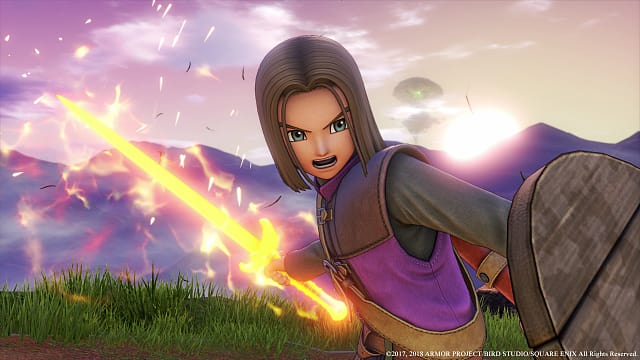 a warrior holds a charged sword and a shield in Dragon Quest XI screen shot