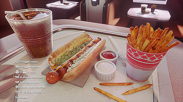 Ridiculously realistic hotdog, fries, and soft drink in Dreams.