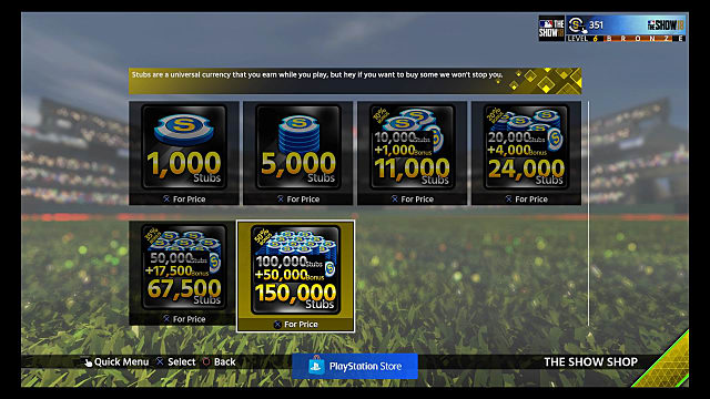 screen showing purchase options for diamond dynasty in MLB The Show 18