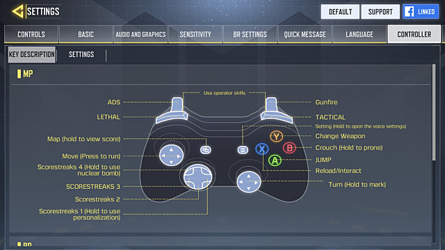 Call of Duty Mobile controller support button map before it was removed from the game.