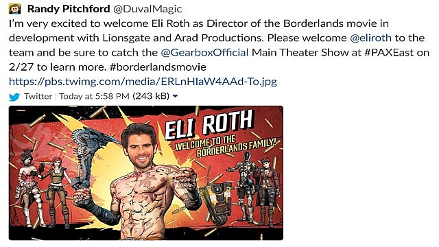 Borderland's CEO Randy Pitchford's tweet about Eli Roth and the Borderlands movie.
