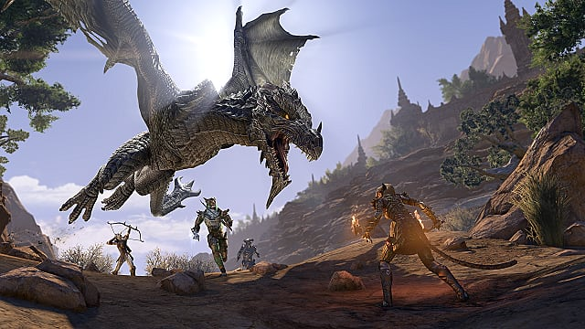 Dragon attacking group of players in Elsweyr