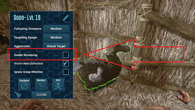 Enabling wandering on a level 19 Dodo in Ark Mobile