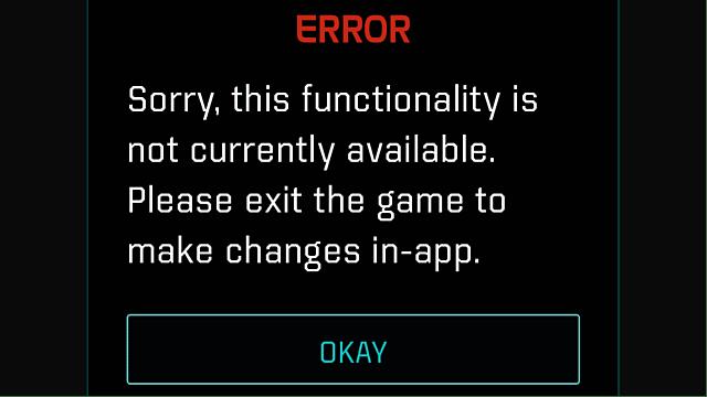 Mass Effect: Andromeda, error screen