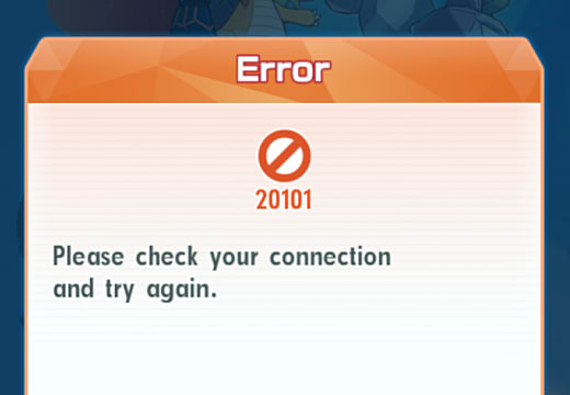 20101 error in Pokemon Masters asking to check the internet connection.