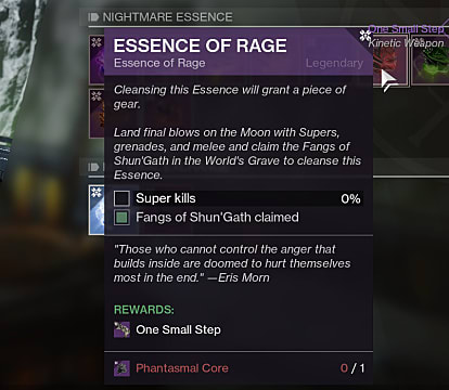 The Essence of Rage in Destiny, required for the One Small Step shotgun