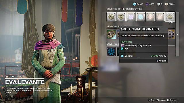 Eva Levante's vendor menu, showing additional Solstice bounties for Key Fragments.