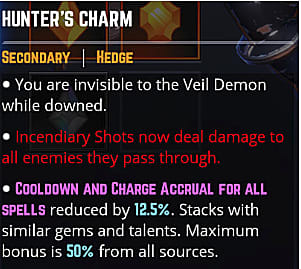 Hunters charm skill effects.