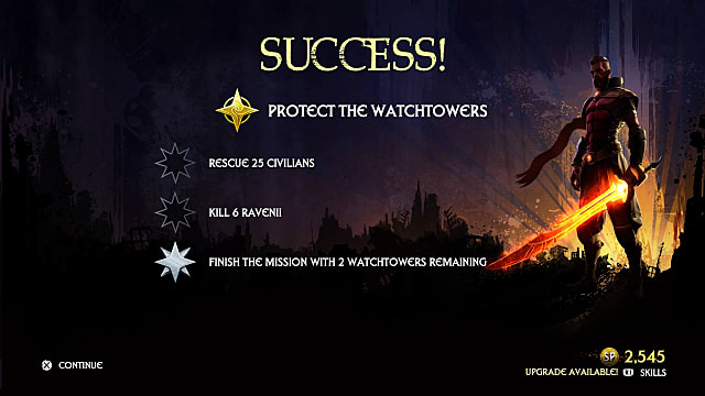 A success message appears on a side mission screen as a warrior stands proud in the corner