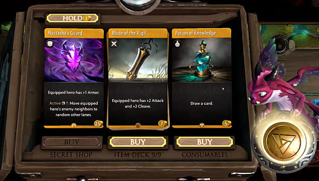 The Artifact shop shows the cards players can buy