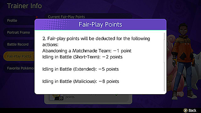 A screenshot of the Fair Play points deduction breakdown.